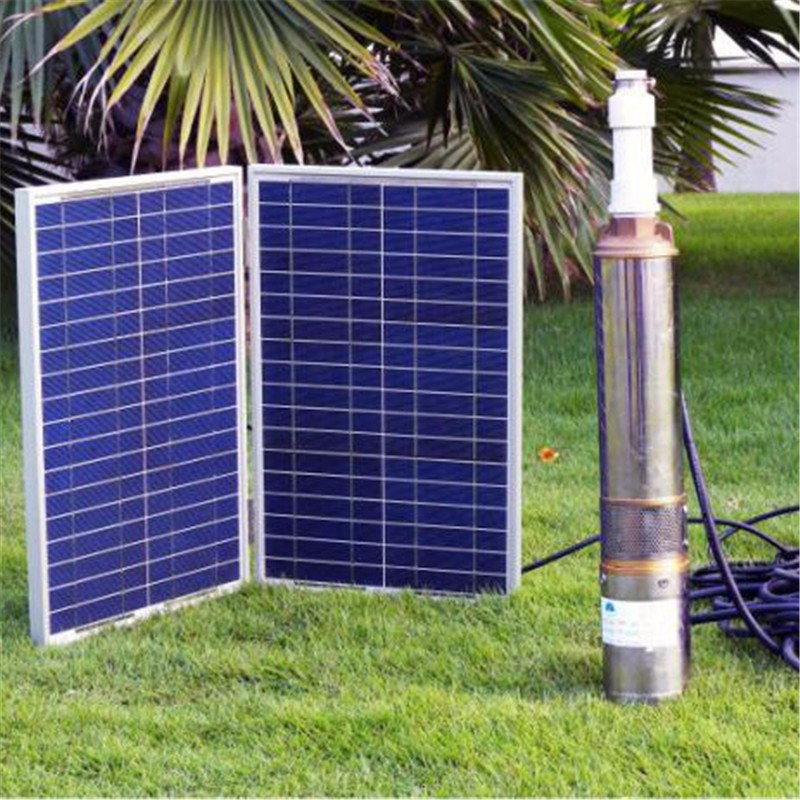 Solar power water submersible pump system DC 24V with 400w Polycrystalline solar panel
