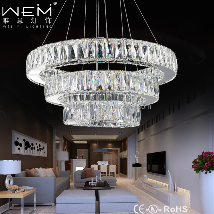 Modern LED Crystal Chandeliers Light 3-Tier Round Chandelier Crystal Light
