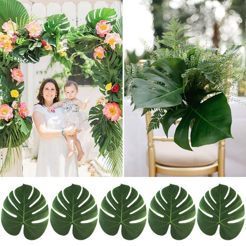 35x29cm Artificial Leaf Simulation Leaf for Hawaiian Luau Theme Party Decorations Home Garden Decoration Tropical Palm Leaves
