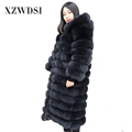 CX-G-A-01 Eco-Friendly keep warm good quality long black fox fur coat