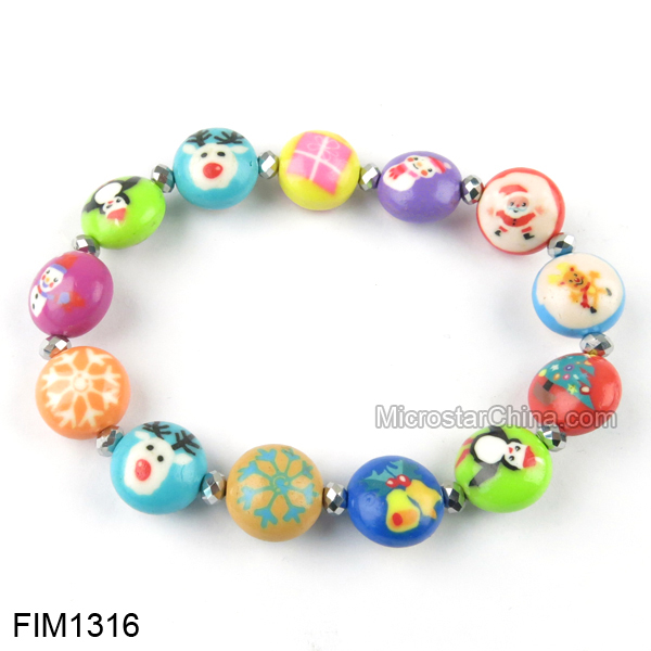 Lucky Christmas Beads Polymer Clay Bracelet Hot Sale