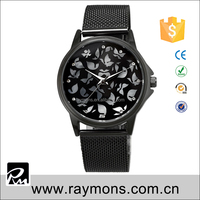 Newest attractive black bracelet diamond lady quartz watches