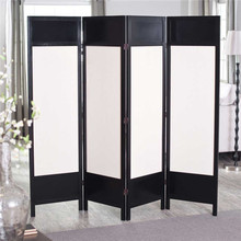 Black wooden with white canvas room divider screen