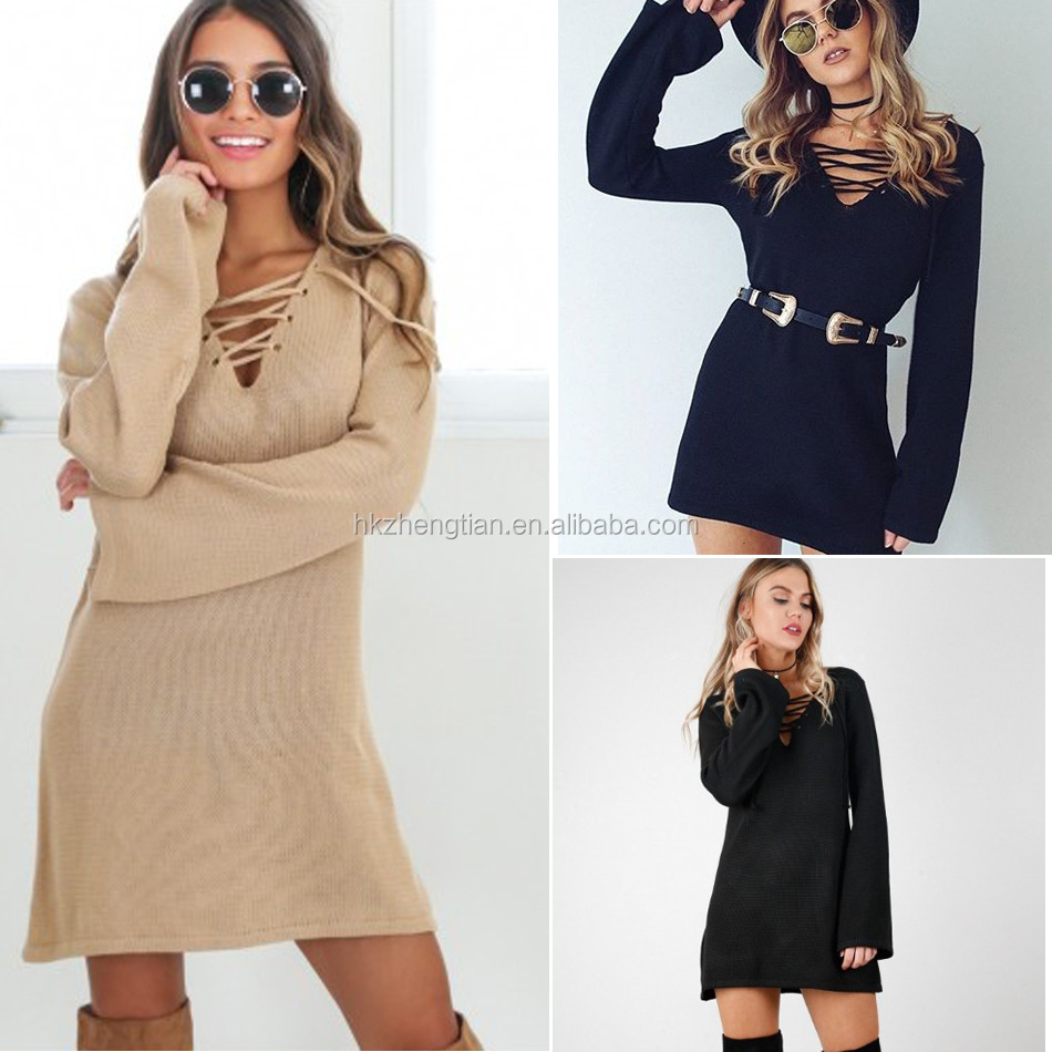 Sweater women v neck string lace up loose dress woolen sweater designs for ladies