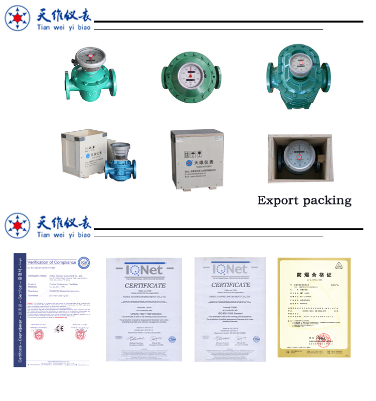 Mechanical Flow Meter high temperature asphalt bitumen flow meter