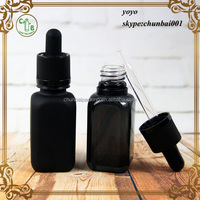 30ml e liqiud bottle with glass dropper French square frosted black glass bottle 30ml with cap