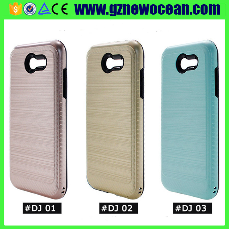 Wire drawing Combo Dual Layer Armor Defender Protective Case Cover for Samsung J3 2017 J327