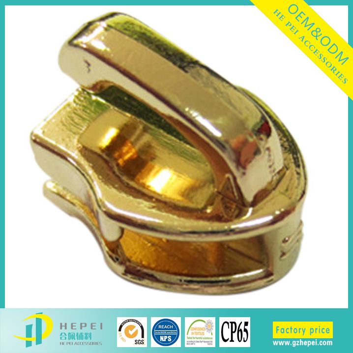 shiny gold zipper slider body manufacturer in Guangzhou China for bags and cases usage