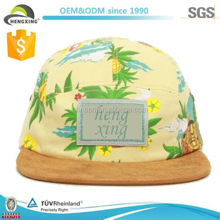 suede brim custom all over print 5 panel hats hawaii 5 panel hat no minimum