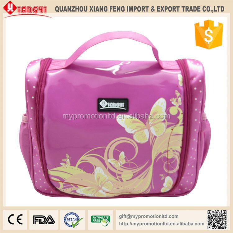 Top sale glitter sublimation makeup bag with compartments