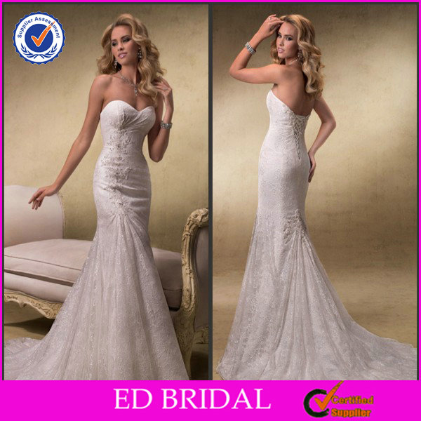 2014 Simple Organza Boob Tube Top Lace Open Back Mermaid Wedding Anniversary Dresses