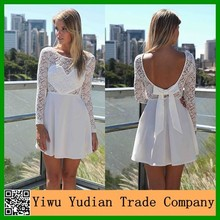 on line sell High Quality white lace knee length dress Patchwork Long Sleeve White backless Lace Dress