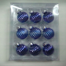 CGA high quality 6 cm blue color glass onion Christmas tree hanging balls,decorations , pine cone for Christmas tree decorative