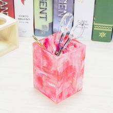 High Quality Red Marble Pencil Case Desk Organizer for Pen Display