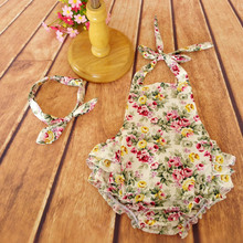 Wholesale toddler baby dresses colored summer clothing set with head flower bamboo baby romper