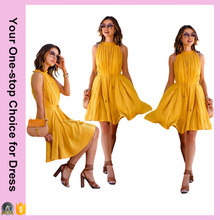 Wholesale Newest Stylish Yellow Ruffles Halter Neck Women High Fashion Dresses