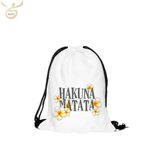 white recycled cotton drawstring backpack bag