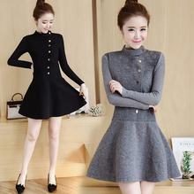 CA1115 fashionable women fitted winter woolen dresses