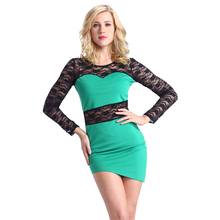 Lace Long Sleeve Dress Factory Green Beautiful Party Dress Sexy Knit Dresses New Fashion 2016