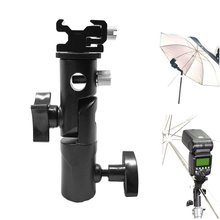 Professional Universal Camera Flash Bracket Umbrella Holder Speedlite Mount Swivel Light Stand Bracket with Cold Shoe Mount