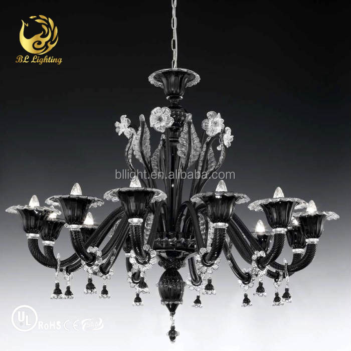 Splendid Wholesale Decorative Black Glass Crystal Murano Chandelier