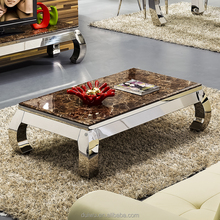 Living room modern marble stone coffee table with stainless steel frame