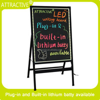 Ultrawhite tempered glass neon led writing board for shop advertising display board