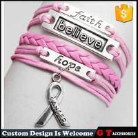 New Arrive Handmade Multilayer Pink Breast Cancer Leather Bracelet For Women Men, Faith Believe Hope Bracelet