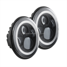 7 Inch Round 4 x 4 LED Headlamp RGB Angel Eyes /Halo Rings Day marker Headlight for JEEP