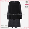 Ladies' high fashion long sleeves cashmere and polyester chiffon mixed fabric combination girl princess dress