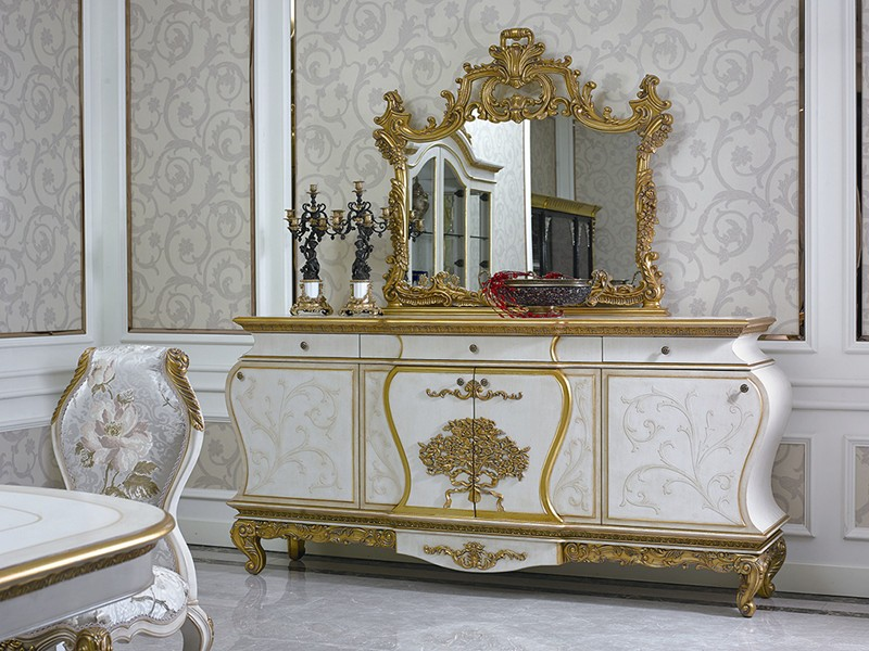 0067 European classic dining room set; luxury wooden furniture either with gold foil or without gold foil