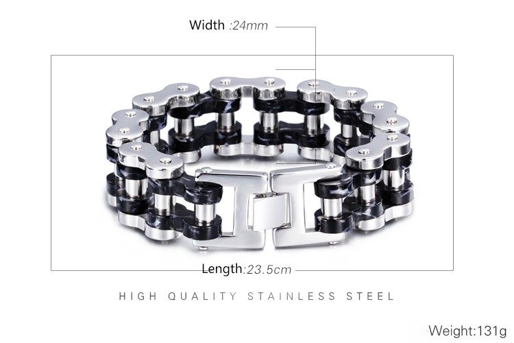 Stainless Steel Biker Gay Pride Chain Heavy Bracelet for Mens