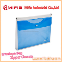 Custom / A4 Size Translucent clear plastic 2 pockets Envelopes file folder bag with zipper button