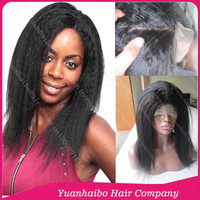 Super Quality! #1b afro kinky straight virgin brazilian hair silk base full lace wig for black women