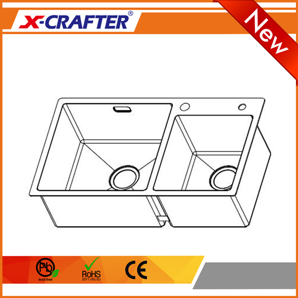 Cheap price wholesale brushed surface customized hole stainless steel 4mm double bowl kitchen sink cabinets
