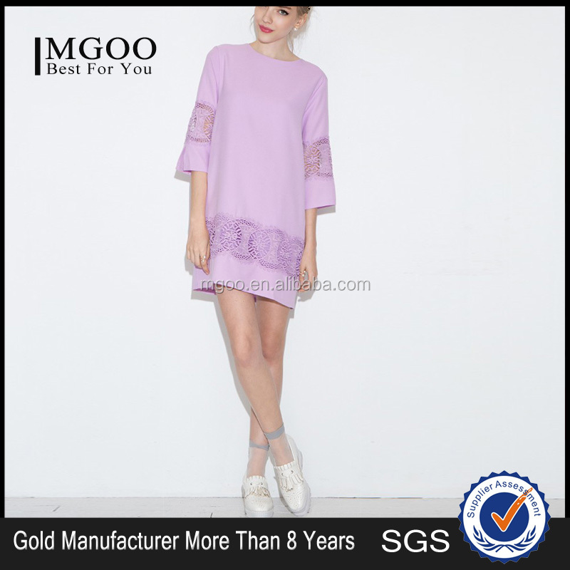MGOO custom made western design loose fit plus size women purple dress 2015 new arrival casual one piece dress