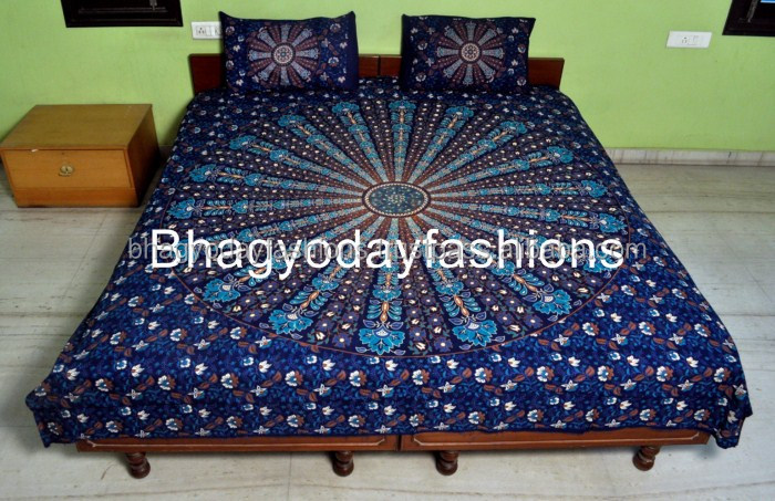Hippie Mandala Tapestry Indian Blue Cotton Bohemian Printed Bedding / Bedspread