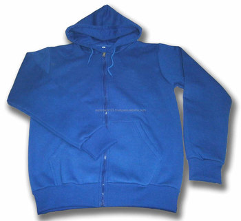 Quality Blue Adult Poly Cotton Blend Front Zipper Fleece Hoodie