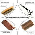 4 Pieces Boar Bristle Beard Brush and Handmade Wooden Comb,Beard Brush and Comb Set for Men