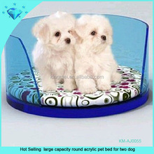 Hot Selling large capacity round acrylic pet bed for two dog