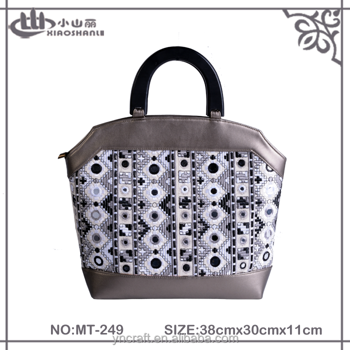2016 glossy indian PU leather stitching chic mirror embroidery tote bag for woman