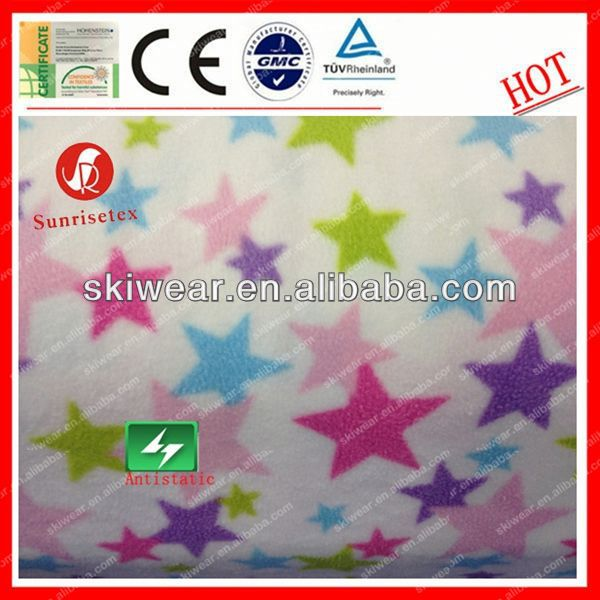 High Quality Antistatic cow print fleece polyester fabric