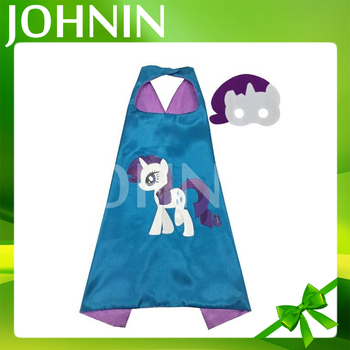 OEM Little Pony Superhero Kids Cape&Mask Costume For Halloween Party Satin Kids Party Cape