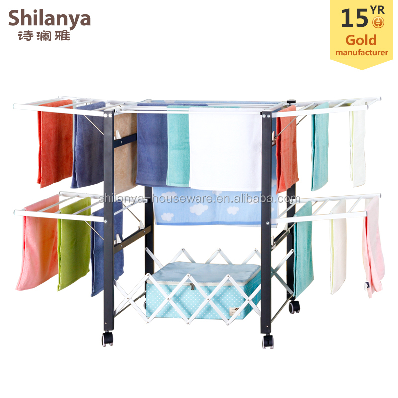 Balcony multifunctional movable folding clothes drying rack