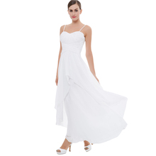New Design Elegant Sexy long tail formal lady white sleeveless style chiffon high waist wedding party dress