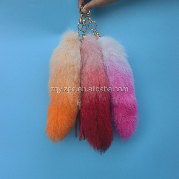 Real fox Tail Key Ring dyed graduated color fox tail keychain