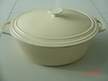 oval /round white enamel coating cast iron pots/casserole cookware,wok