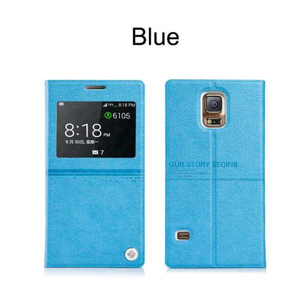 2014 New Blue flip cover with window design case for Samsung Galaxy S5