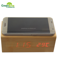 Creative Home LED Wooden Alarm Clock With Wireless Mobile Phone Charger LED Wooden Clock