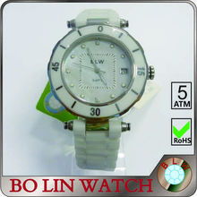 ladies watch/ceramic&stainless steel/japan movement/natural diamonds/advanced dial&hands, ceramic watch white color